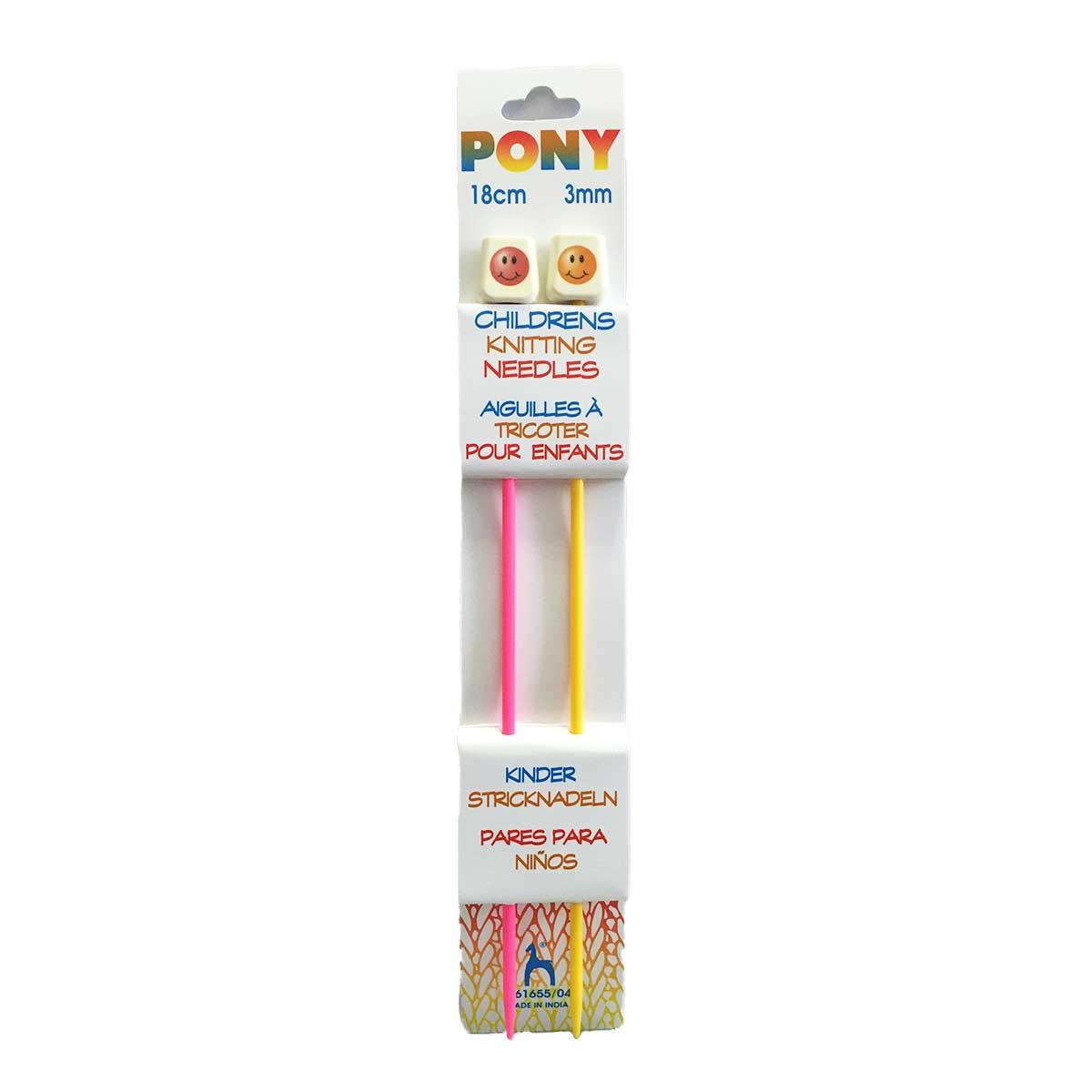 61655/04 Спицы прямые детские 3,00 мм/ 18 см, пластик, цветные, 2 шт PONY