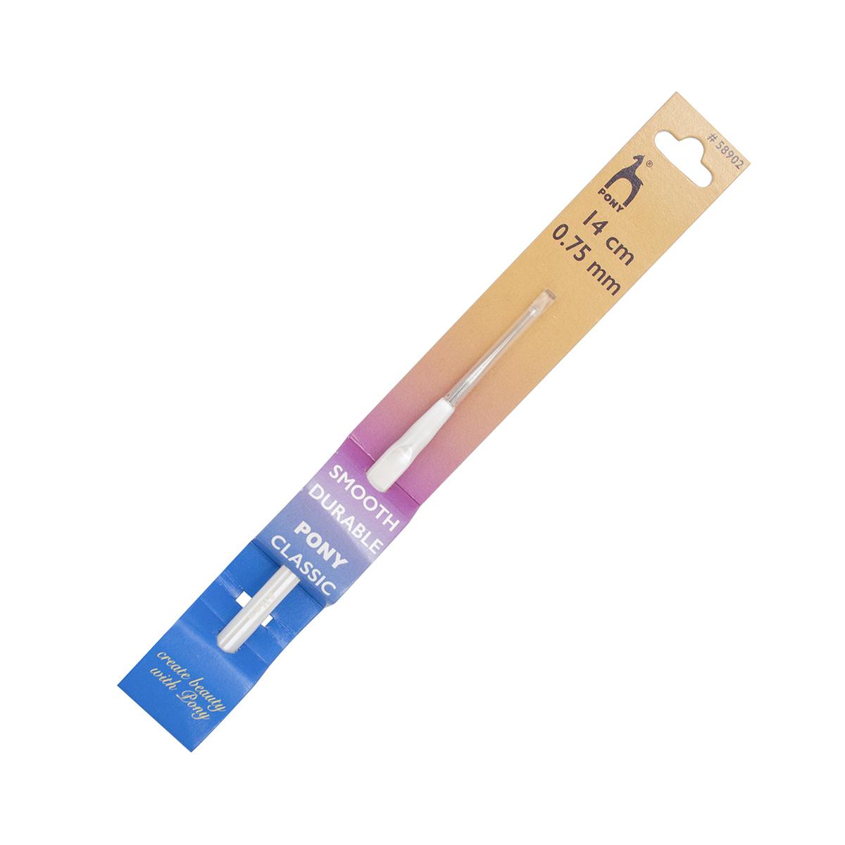 58902 Крючок вязальный 0,75мм*14см, сталь, с пластиковой ручкой PONY