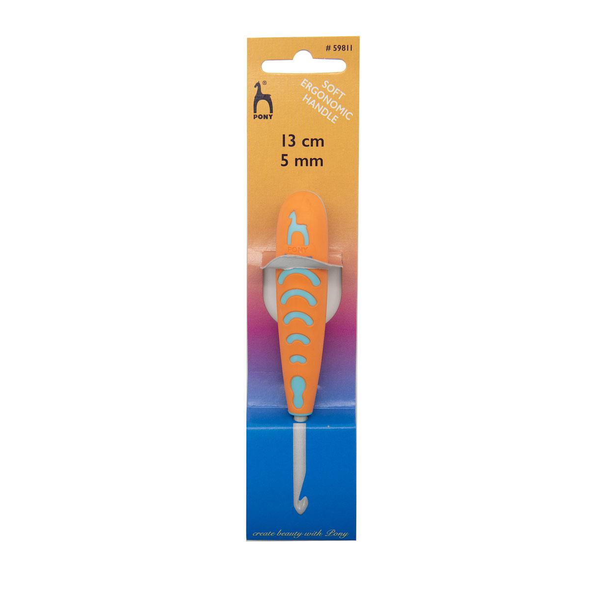 59811 Крючок вязальный 5,00мм*13см, алюм., с эргономичной ручкой PONY