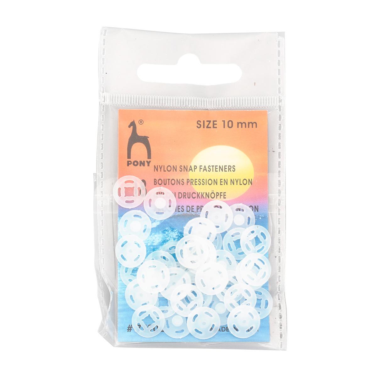 77902 Кнопки одежные 10 мм, нейлон, прозрачные,18 шт PONY фото