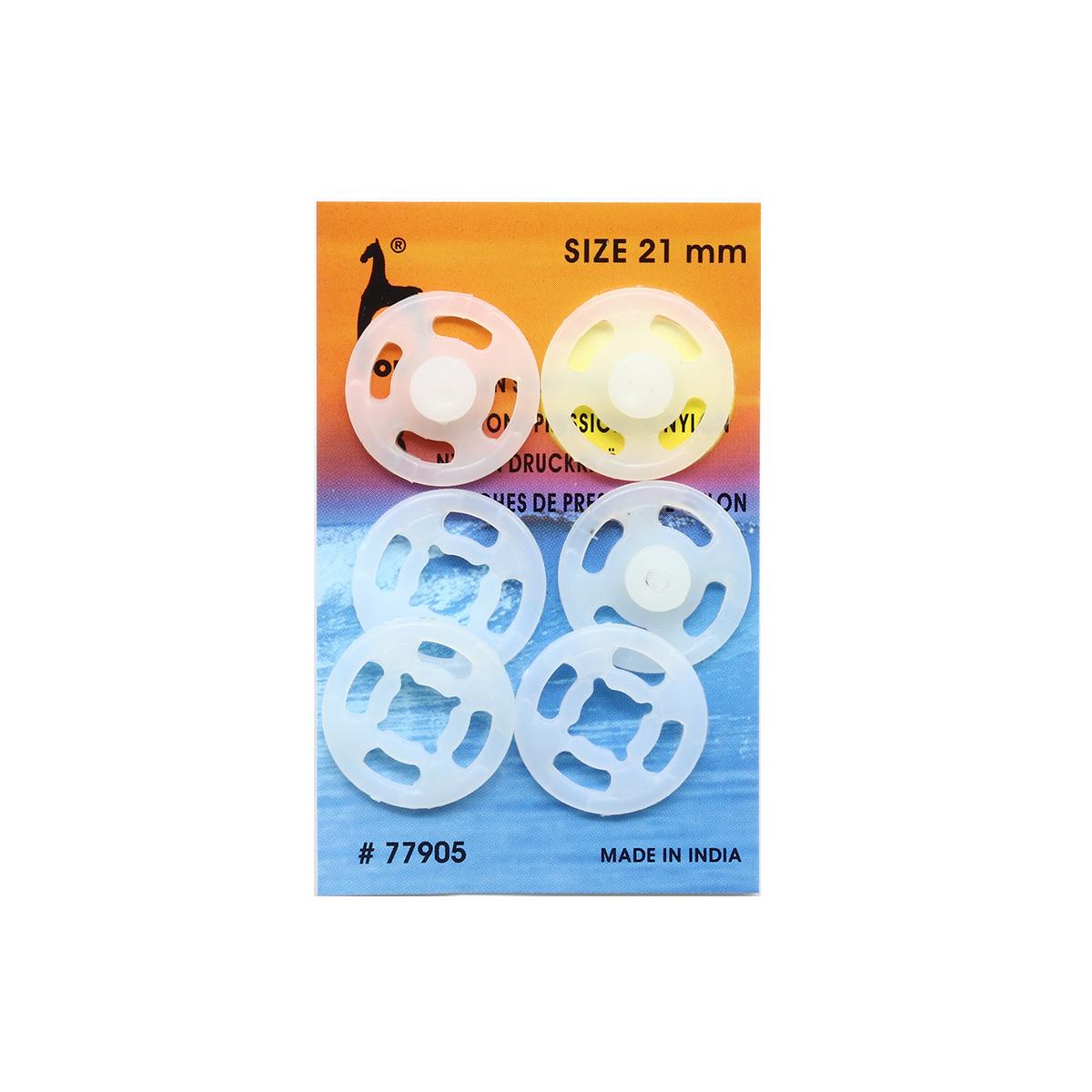 77905 Кнопки одежные 21 мм, нейлон, прозрачные, 3 шт PONY