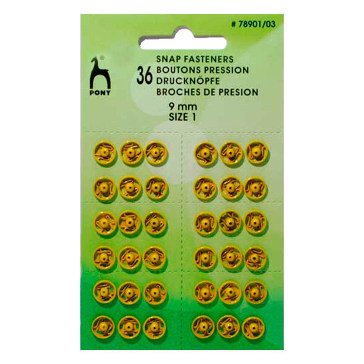 78901/03 Кнопки одежные 9 мм, латунь, желтые, 36 шт PONY