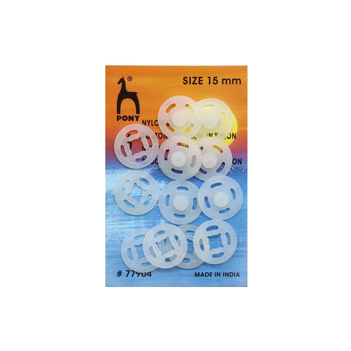 77904 Кнопки одежные 15 мм, нейлон, прозрачные, 6 шт PONY