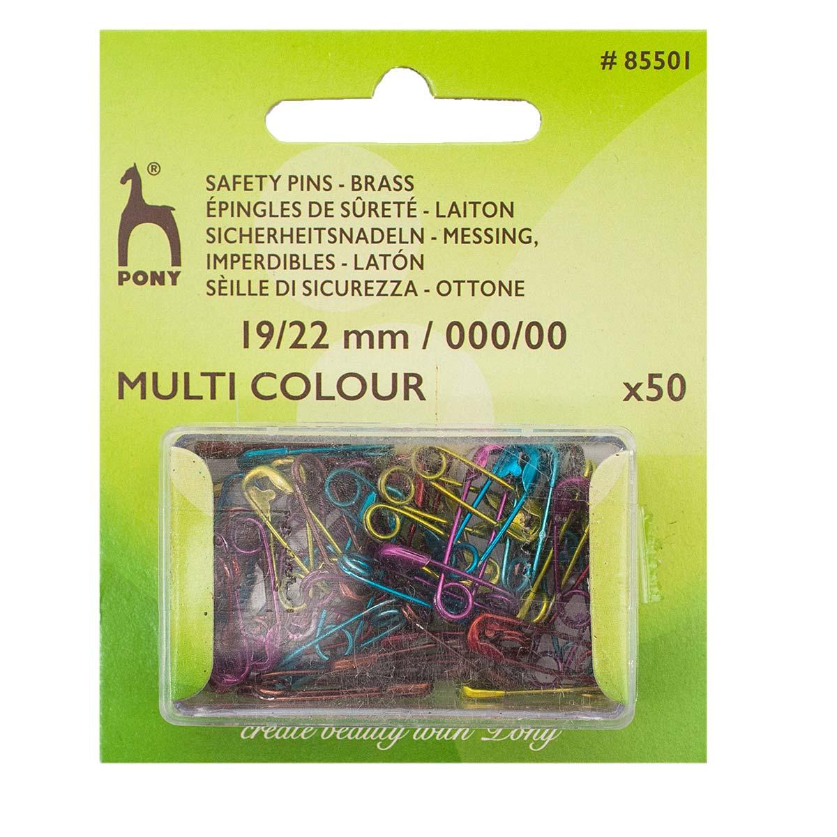 85501 Булавки английские 19 мм/22 мм, латунь, цветные, 50 шт PONY