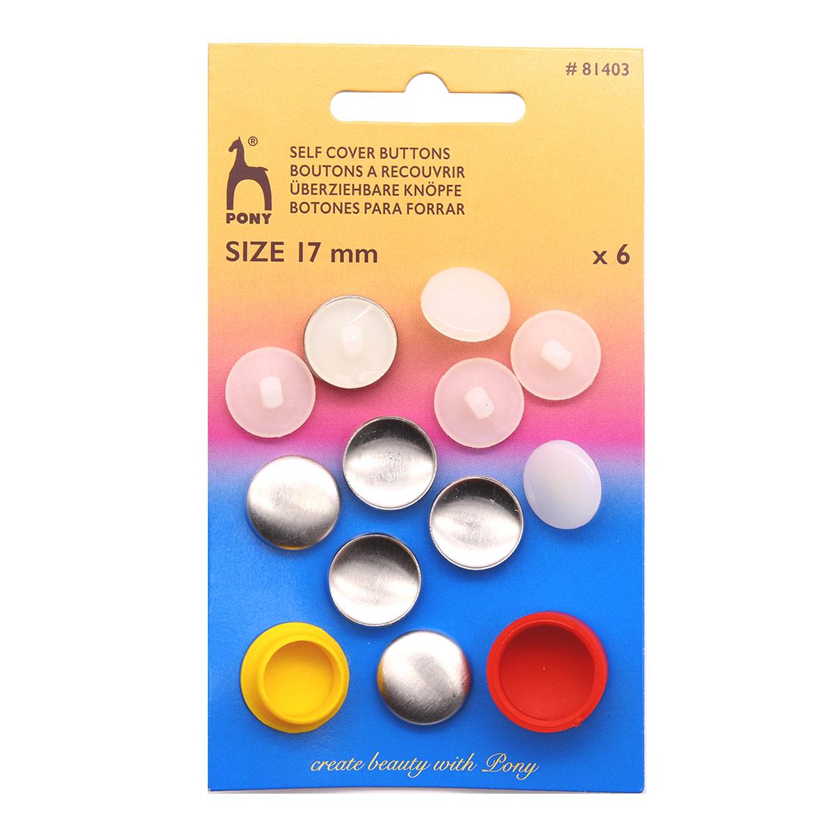 81403 PONY Пуговицы для обтягивания тканью 17 мм, 6 шт.