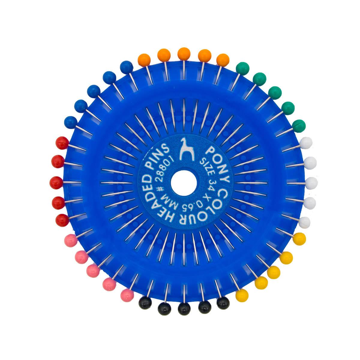 28801 Булавки наметочные с цветной головкой 0,65мм/34мм, сталь/пластик, 40шт PONY