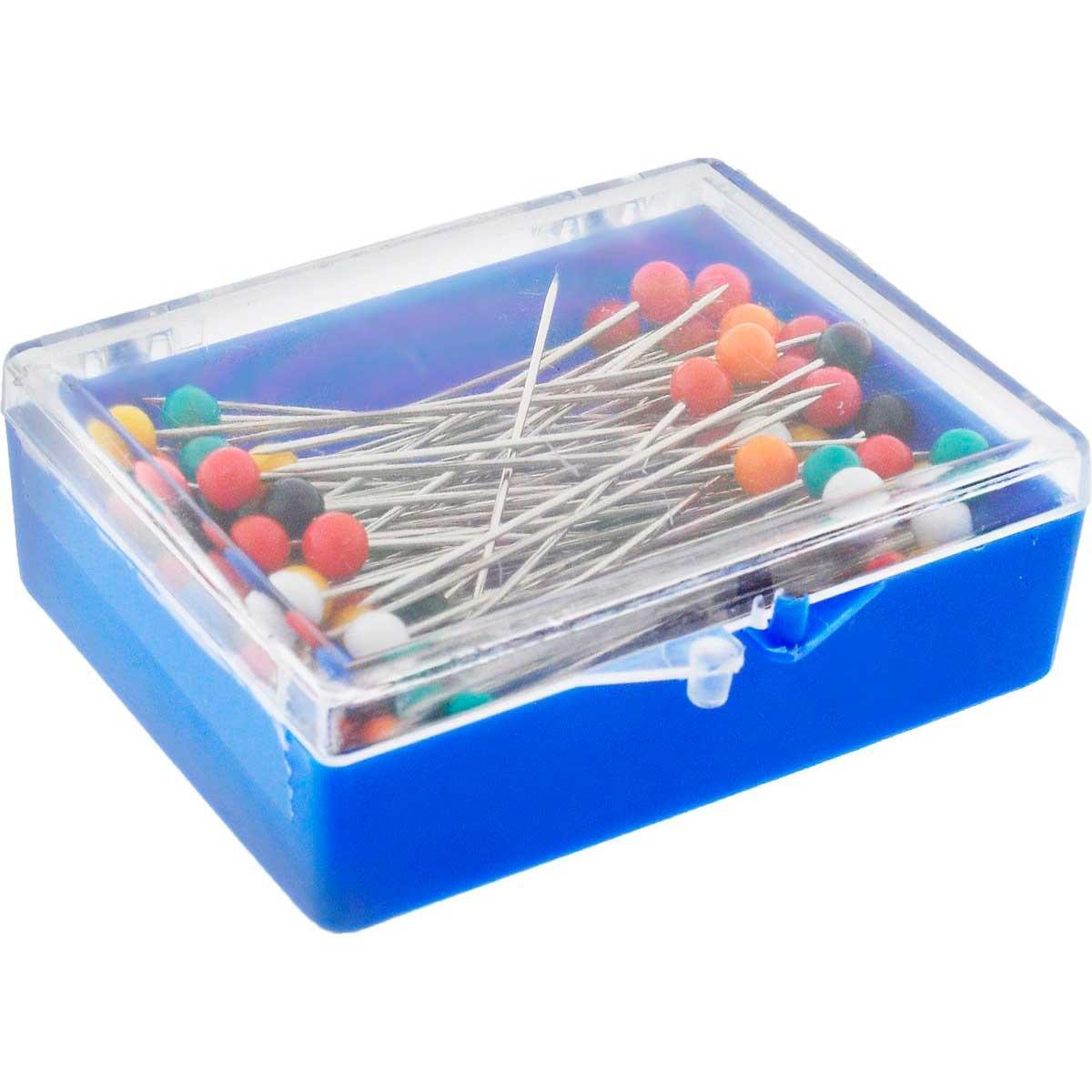 28401 Булавки наметочные с цветной головкой 0,65мм/25мм,сталь/пластик, 120шт PONY