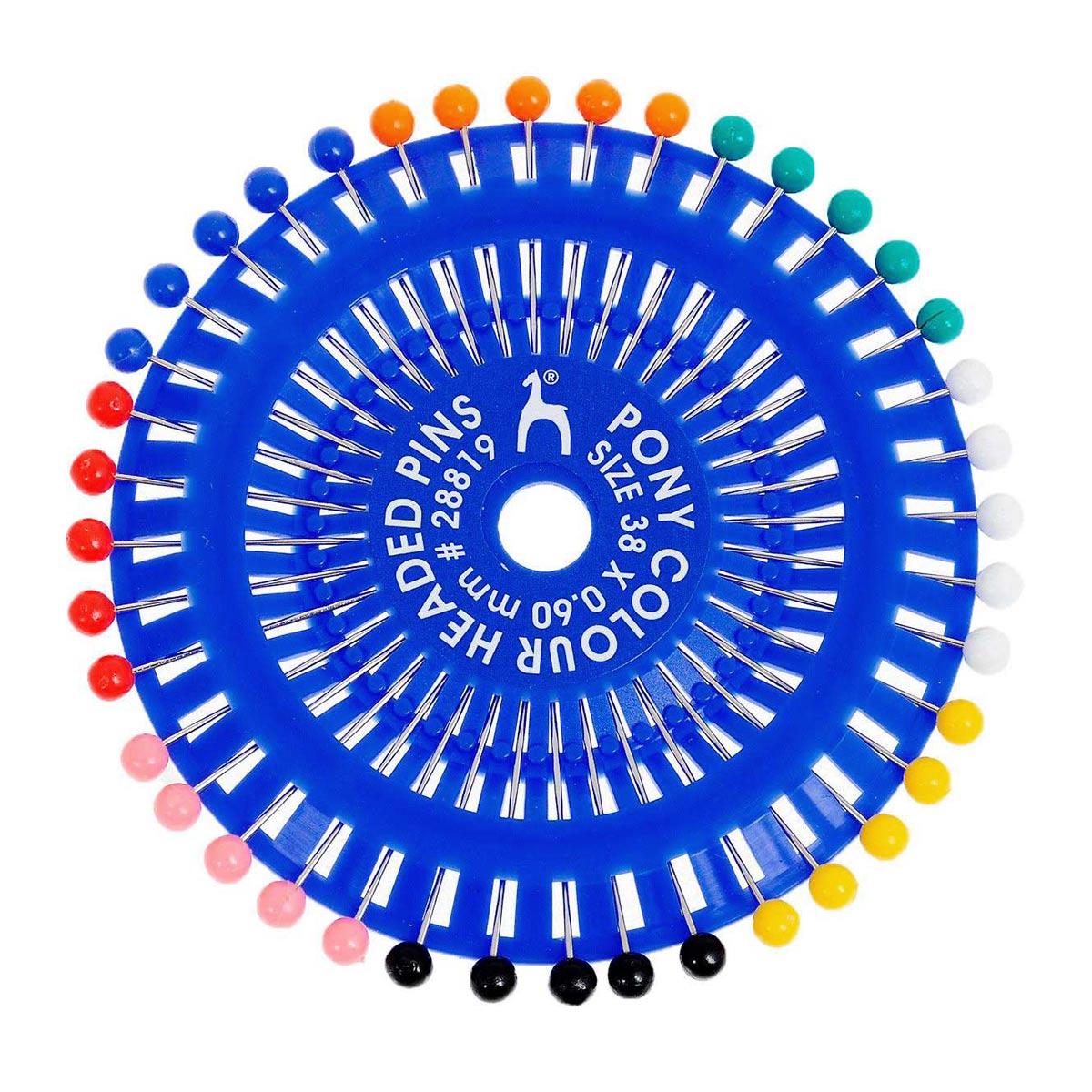 28819 Булавки наметочные цветная головка 0,60 мм/ 38 мм, сталь/пластик, 40 шт PONY