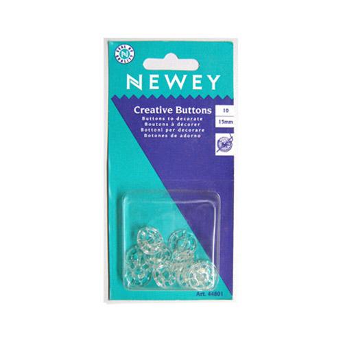 044801 NEWEY Пластиковая основа пуговицы бесцветная, 15 мм/блистер, 10 шт.
