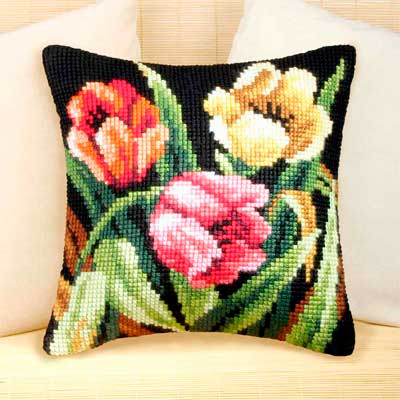 9077 ORCHIDEA Набор для вышивания подушка 40х40 см