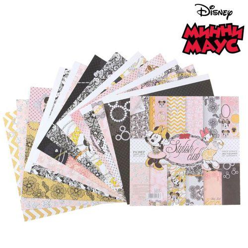 1145353 Набор бумаги для скрапбукинга 'Stylish club' Минни Маус,12 листов 29.5х29.5см, 160 гр/м2