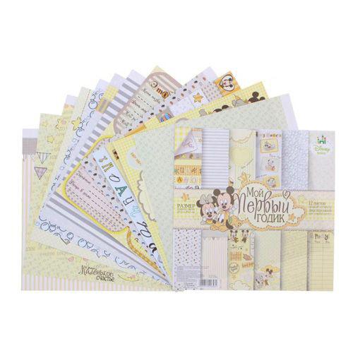 1145356 Набор бумаги д/скрап 'Мои первый годик' Микки Маус Дисней Беби,12 лист 29.5х29.5см,160 гр/м2