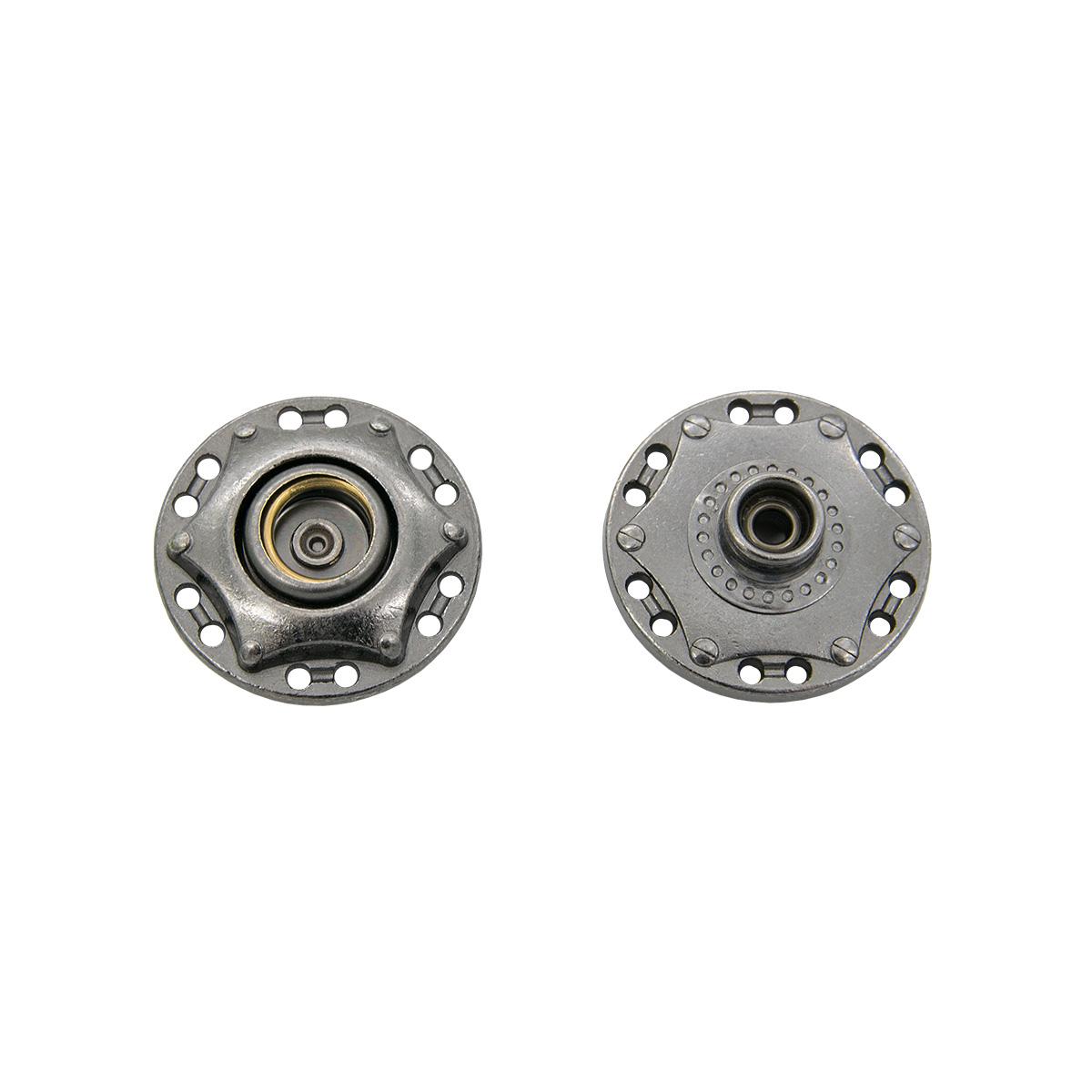 Кнопка пришивная 63884, d=24 мм, черный никель, упаковка 4 шт., Hobby&Pro
