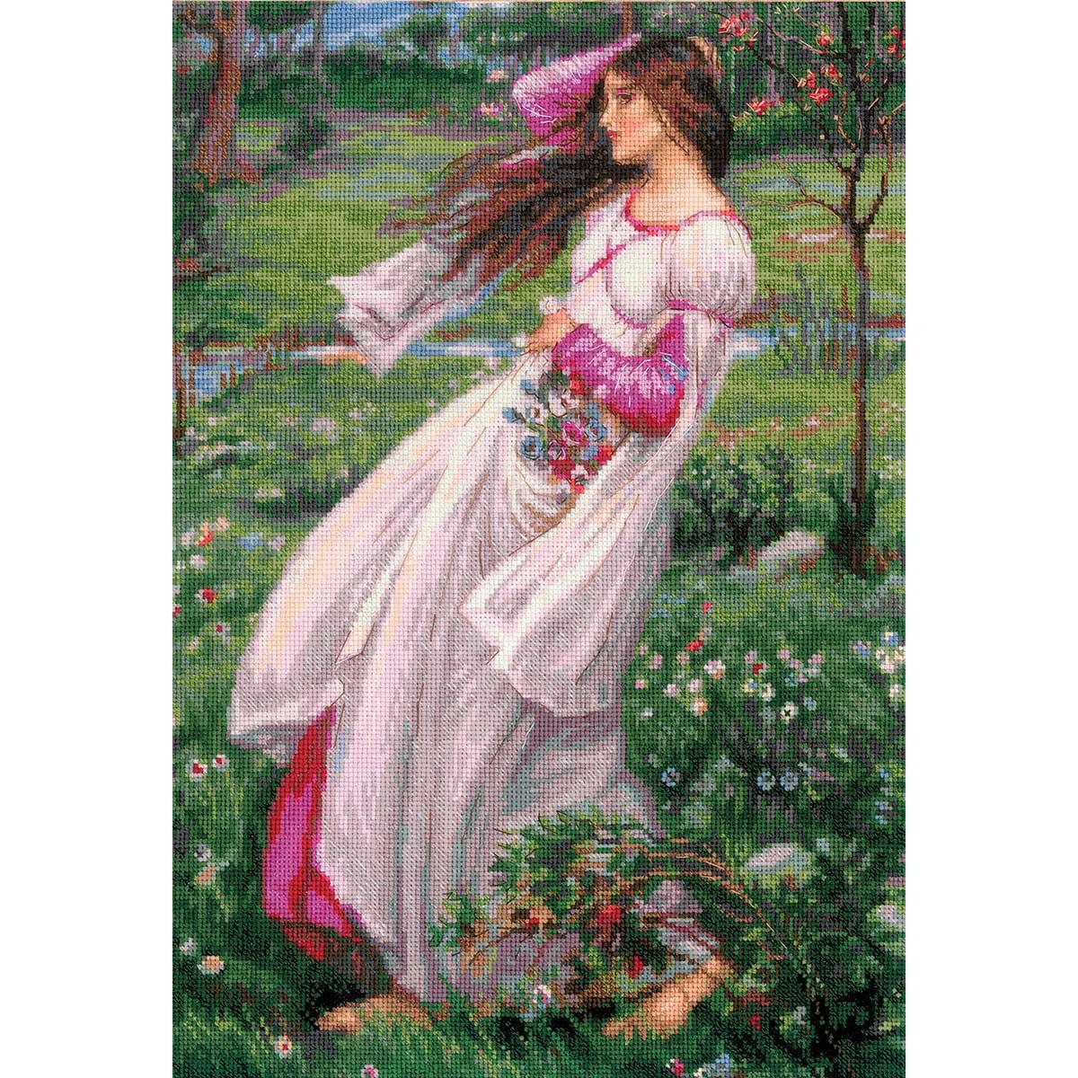100/055 Частичная вышивка Риолис 'Ветреницы' по мотивам картины Д.У. Уотерхауса' 30*45см