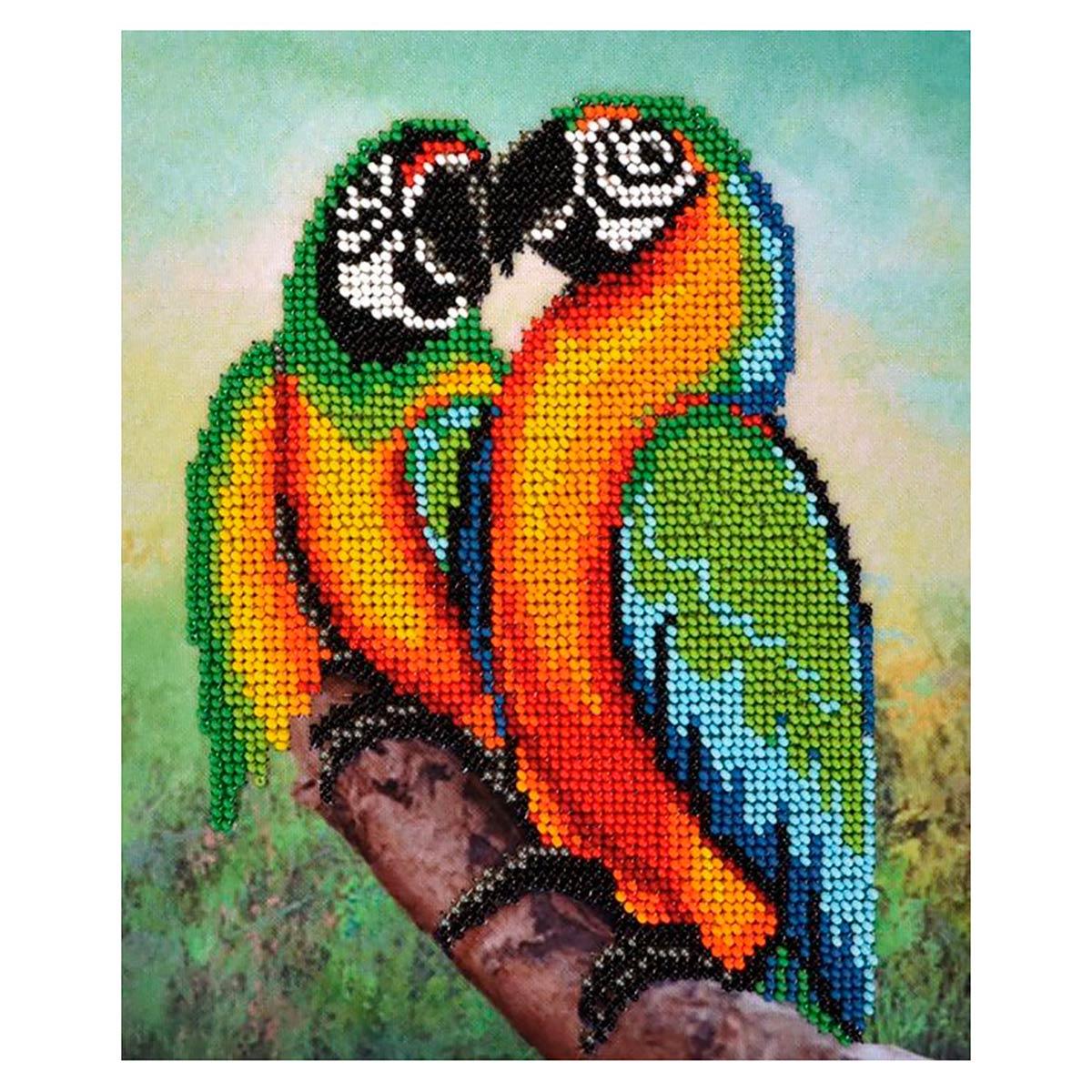 БН-3230 Набор для вышивания бисером Hobby&Pro 'Попугаи' 16,5*20 см