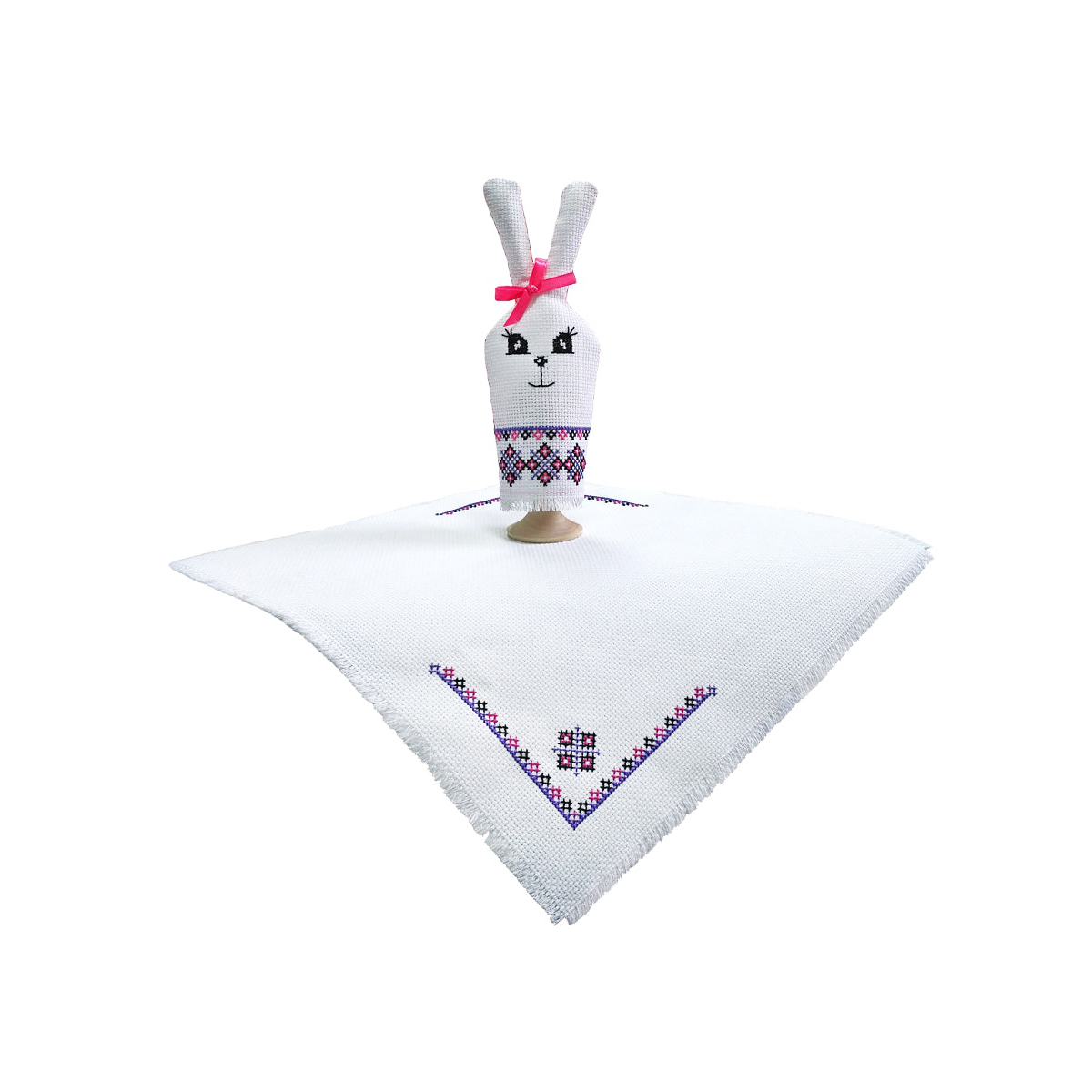 М-061 Набор для вышивания крестом 'Зайка', разм. салфетки-30*30 см, заяц -18*7,5 см