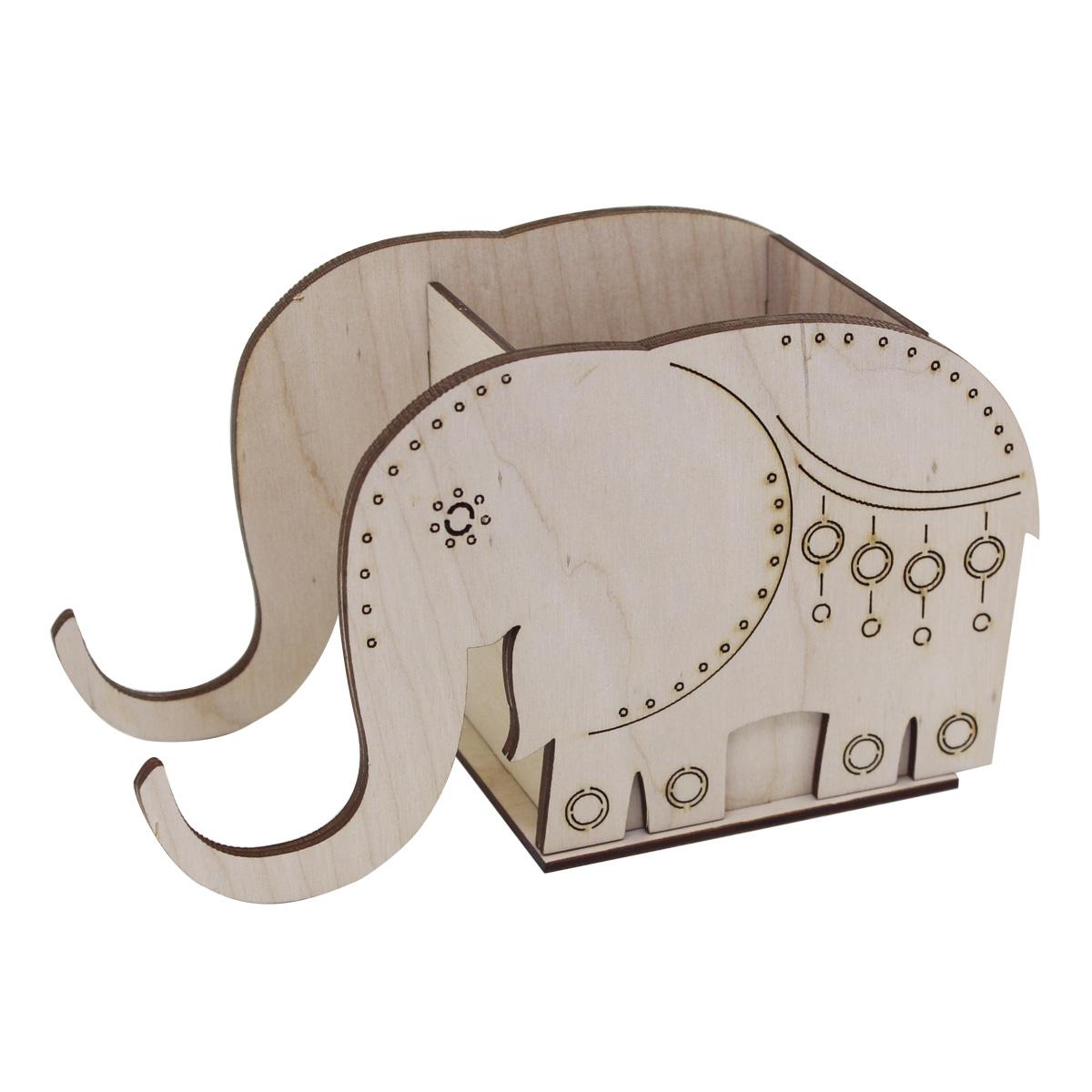 L-666 Деревянная заготовка подставка под карандаши и мобильный телефон 'Слон' 19,5*9*11 см, Астра