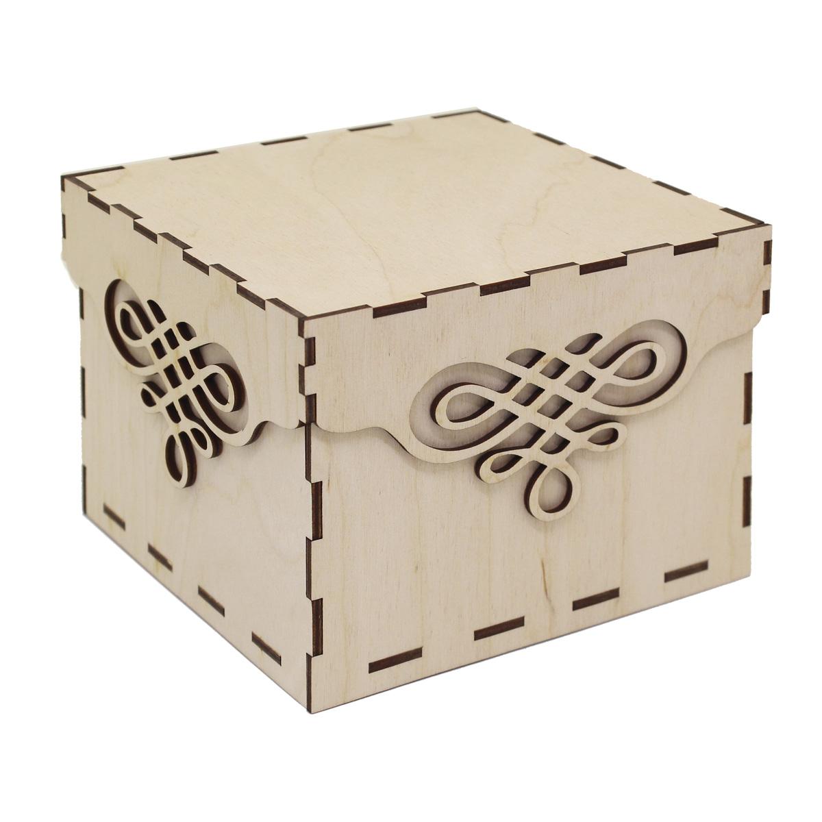 L-678 Деревянная заготовка коробочка квадратная с крышкой 'Вензель' 13,5*13,5*10,5см, Астра