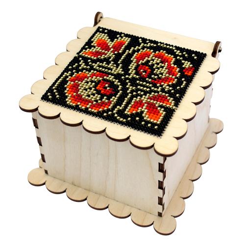 L-703 Деревянная заготовка шкатулка для вышивания бисером 'Хохломской узор' 11,5*11,5*7,5 см, Астра