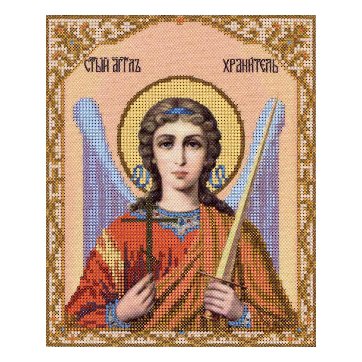 4010 Ткань с нанесенным рисунком для вышивания бисером 'Ангел Хранитель' 25*30 см
