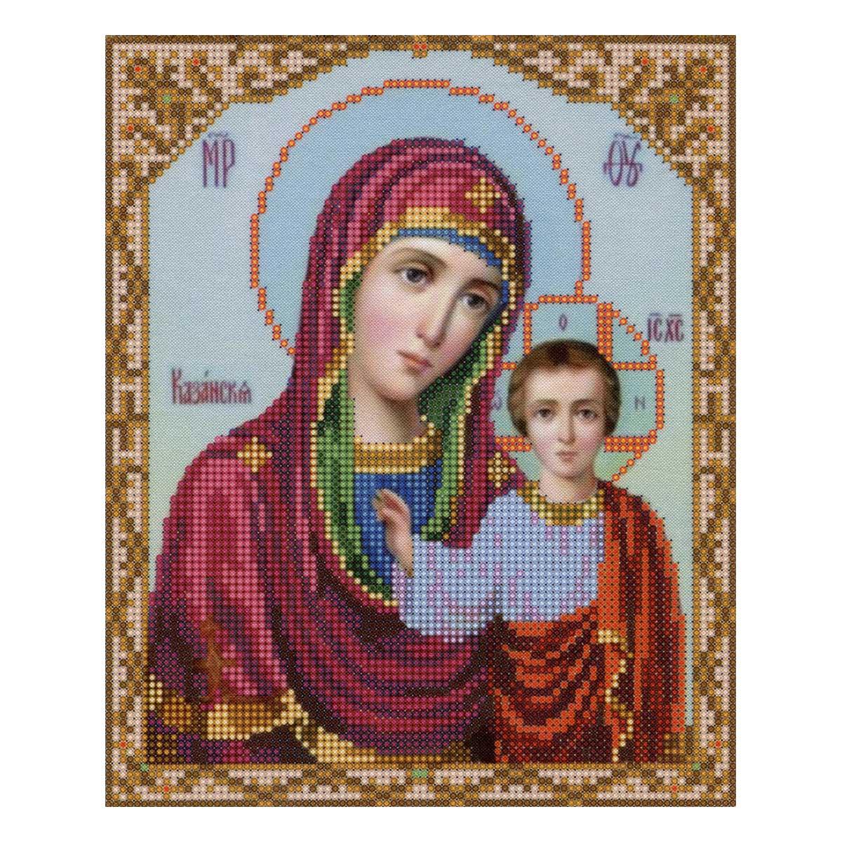 4008 Ткань с нанесенным рисунком для вышивания бисером 'Казанская Богородица' 25*30 см