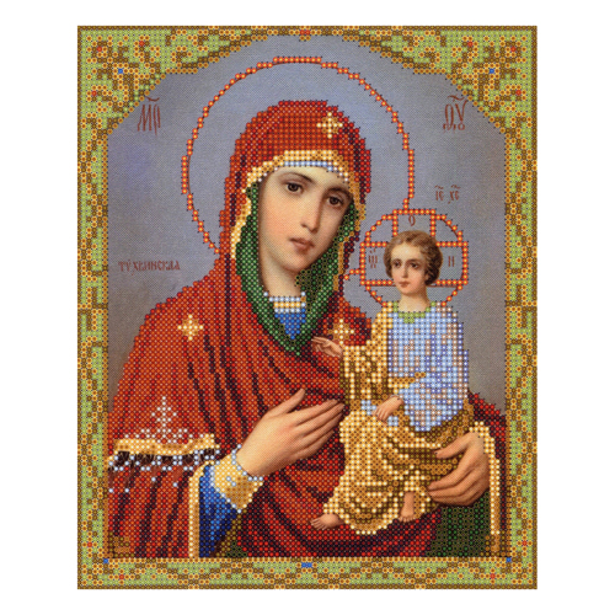 4007 Ткань с нанесенным рисунком для вышивания бисером 'Тихвинская Богородица' 25*30 см