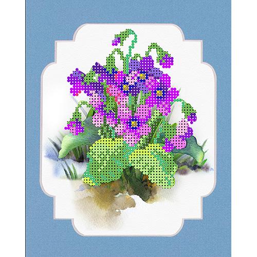 143/БП Набор для вышивания с бисером и паспарту Матренин Посад 'Весенние цветы' 24*26см