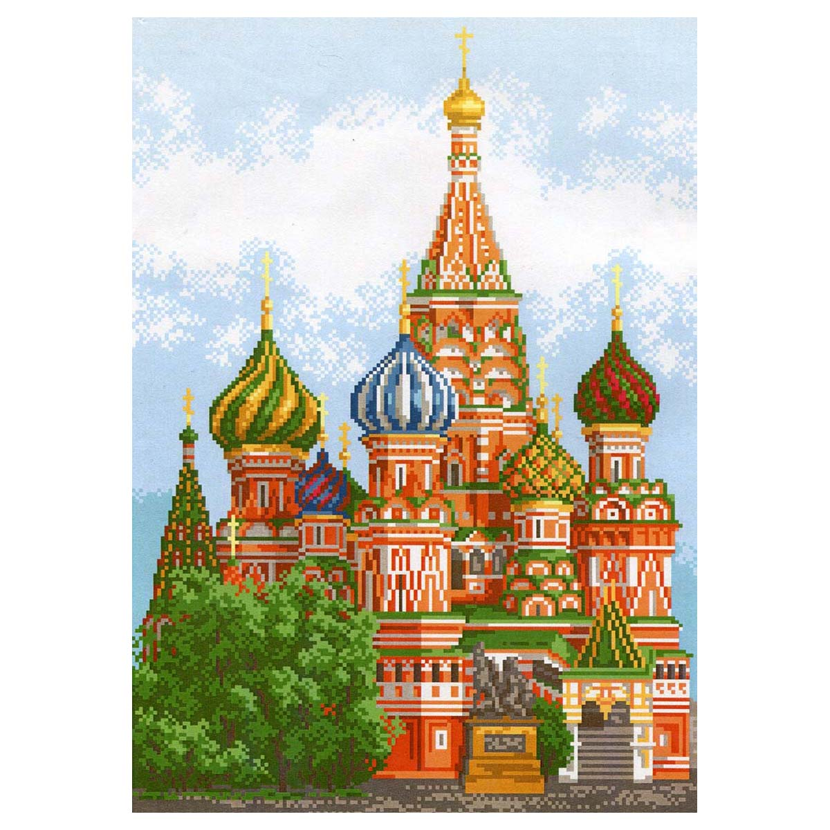 920 Канва с рисунком Матренин Посад 'Храм Василия Блаженного' 29*39см.(37*49см)