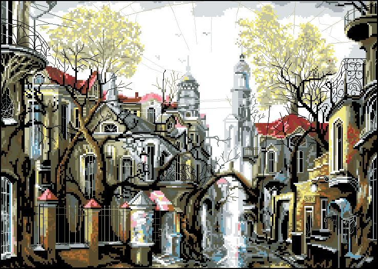 Г-010 Канва с рисунком Гелиос 'Город' 37,5х50см