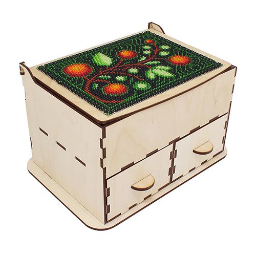 L-790 Деревянная заготовка комодик для вышивания бисером 'Молодильные яблочки' 20*14*11,5см Астра