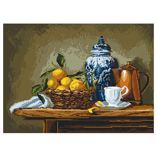 1895 Канва с рисунком Матренин посад 'Натюрморт с мандаринами' (29*40см) 37*49см фото