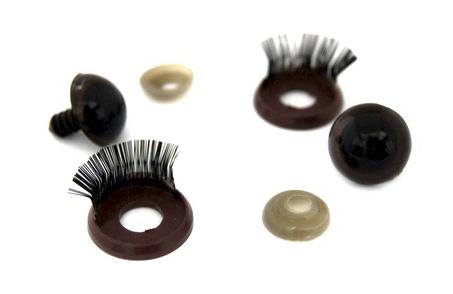 23452 Глазки пластиковые с фиксатором №12 +веко с ресничками, цв.коричневый,18мм*20мм, 2 шт/упак.