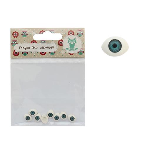 25511 Глазки овальные №5, цв. голубой, 7*10мм, 8шт/упак