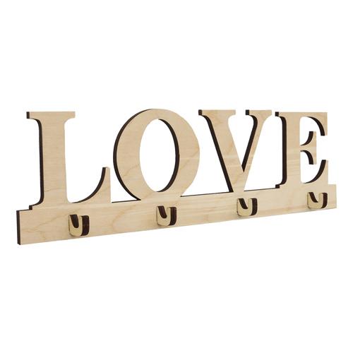 L-781 Деревянная заготовка ключница-вешалка на 4 крючка 'LOVE' 33*9,5 см Астра