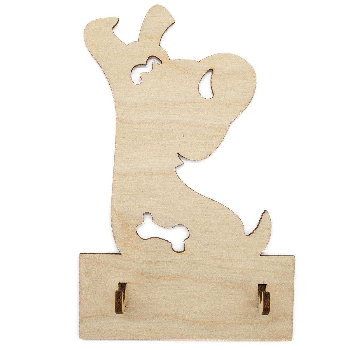 L-782 Деревянная заготовка ключница-вешалка 'Пёсик с косточкой' 9*14см Астра