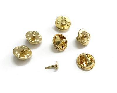 25847 Основа для значка-броши (застежка+гвоздик), 11*5мм/4*8мм, уп.6 компл., золото