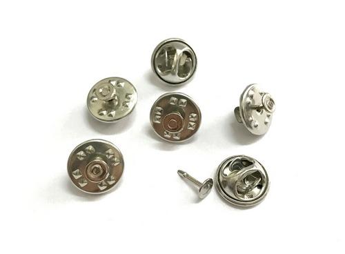 25846 Основа для значка-броши (застежка+гвоздик), 11*5мм/4*8мм, уп.6 компл., серебро