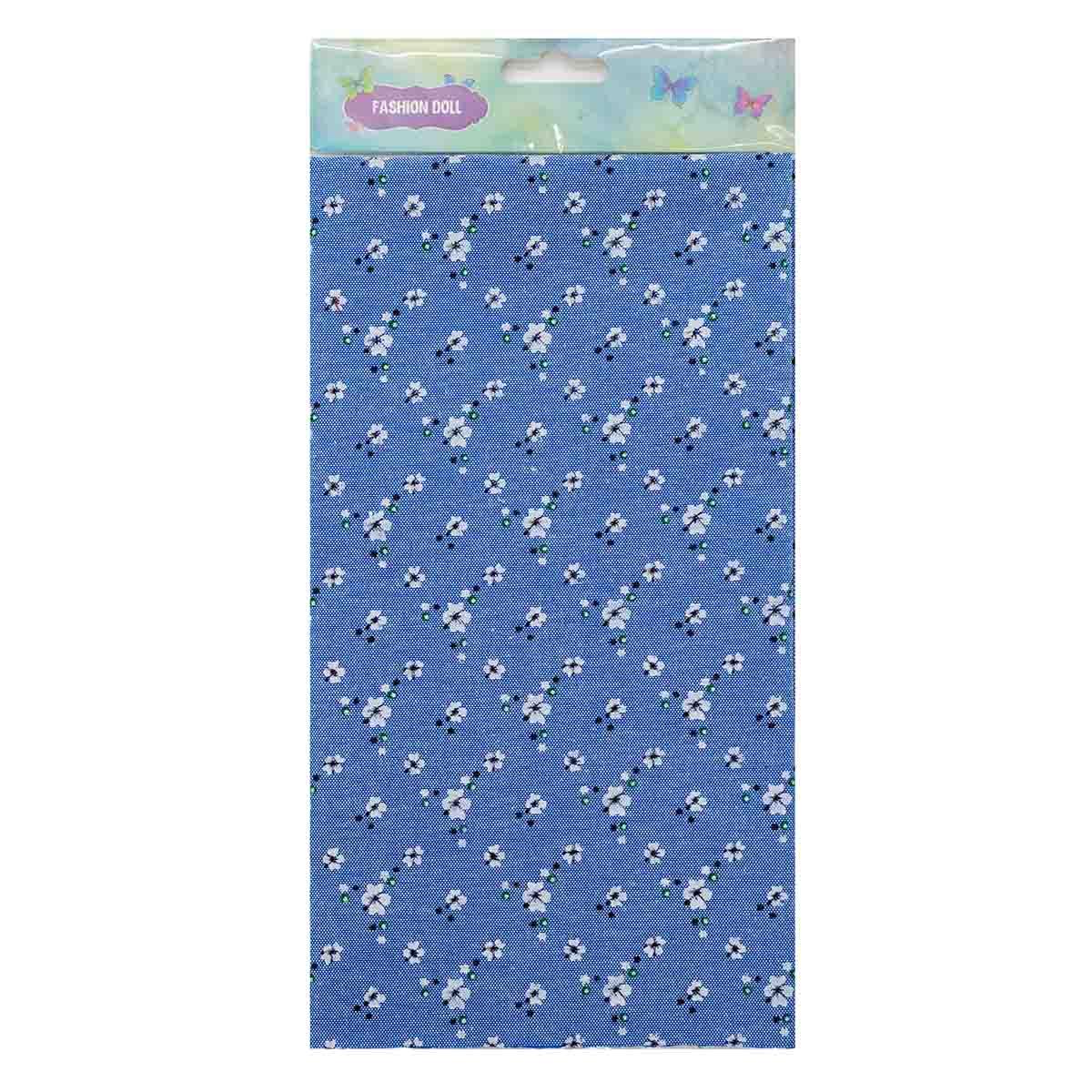25897 Ткань FD 'Цветочки-1', 48*50см (80% п/э, 20% х/б), голубой