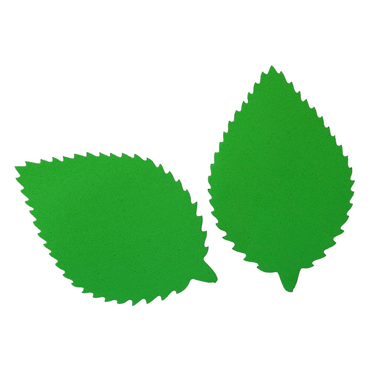 фом8-3-1 Заготовка из фоамирана 'Лист пильчатый', 5х7 см,10шт, зелёный