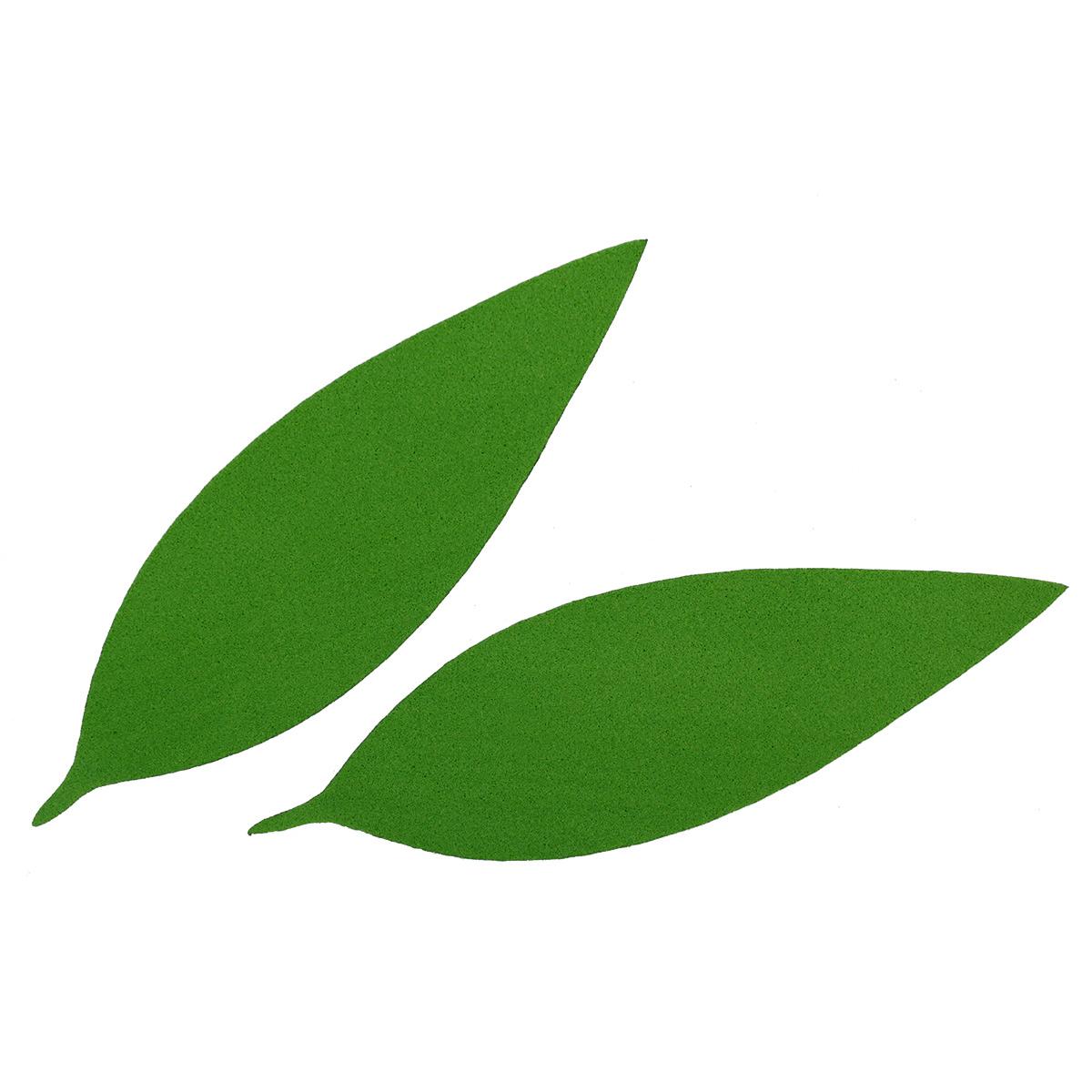 фом9-1-2 Заготовка из фоамирана 'Лист вытянутый', 10х3 см,10шт, тёмно-зелёный