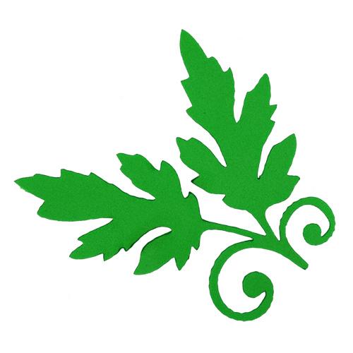 фом13-1-1 Заготовка из фоамирана 'Ветка с листьями', 8х8см, 10шт, зелёный