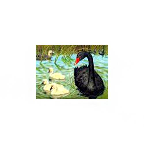 п0000183т Набор для рисования песком с трафаретом 'Лебеди' 21*30см