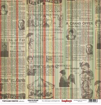 SCB220604901 Бумага для скрапбукинга двуст. Старый цирк Звезды цирка, 30,5х30,5 см 180 гр/м,10 шт*уп