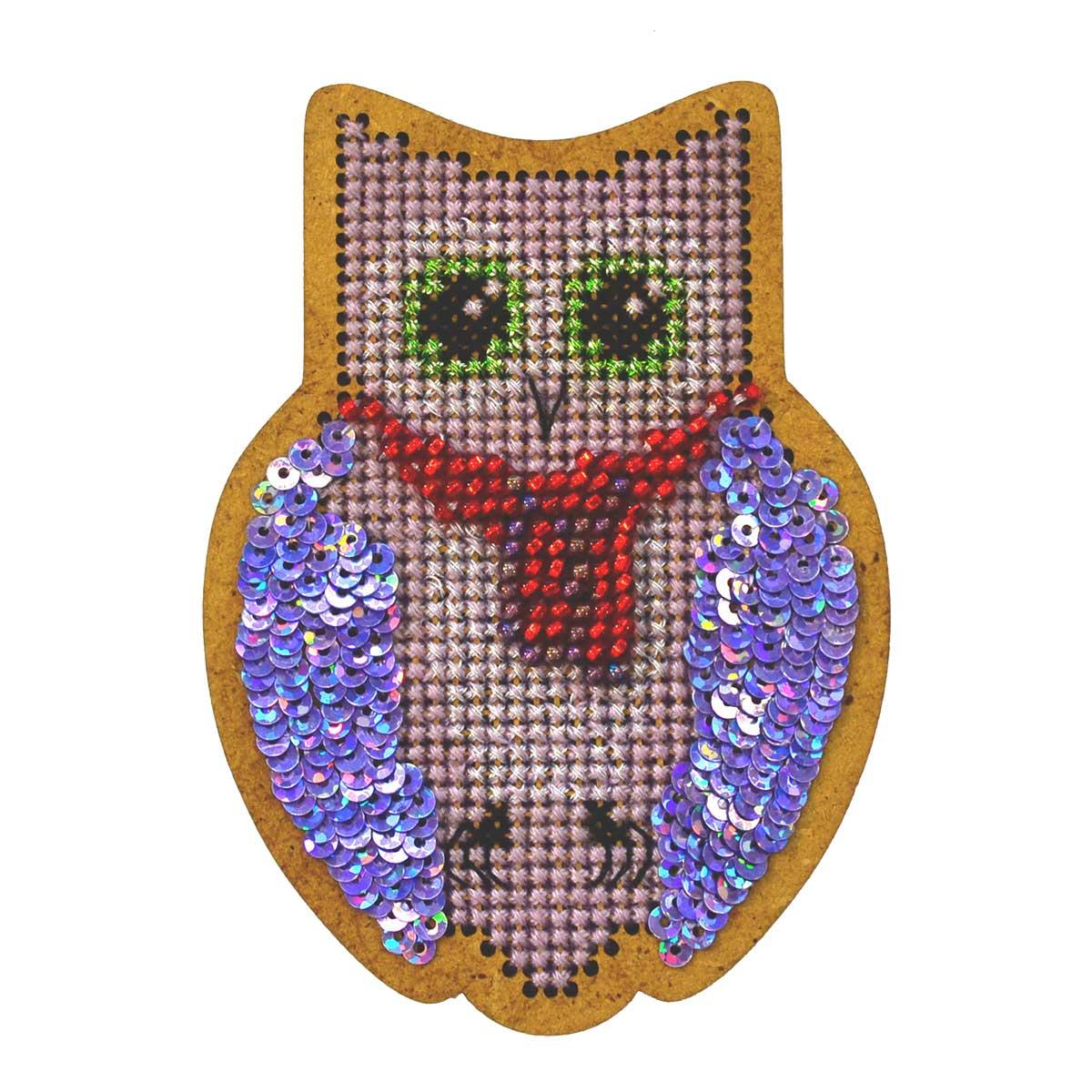ИК-005 Набор для вышивания крестом на основе Созвездие 'Новогодняя игрушка 'Совушка' 9*6см