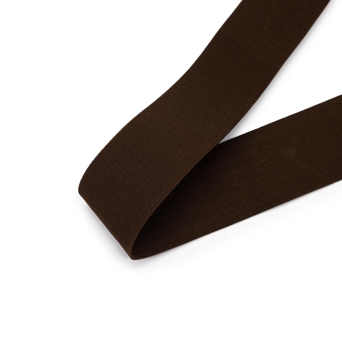 15-3850/9707 Резинка вязаная 40мм*25м т.коричневый ГР