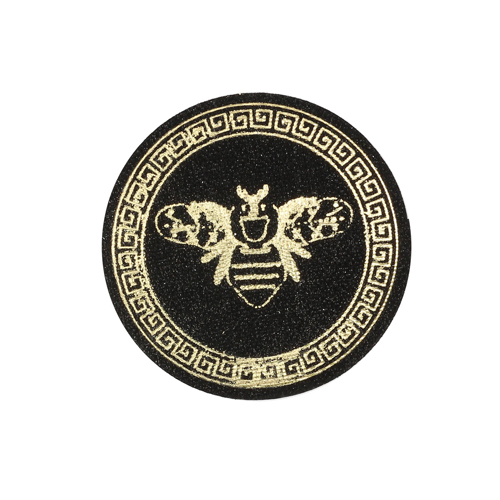 ГС584 Термоаппликация Пчела, круг 65мм, черный/золото