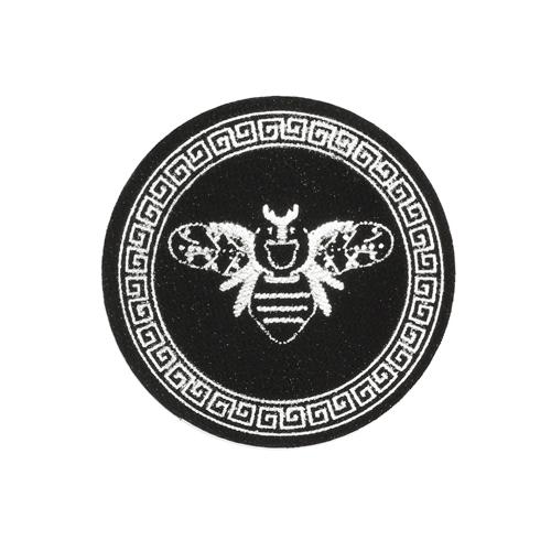 ГС584 Термоаппликация Пчела, круг 65мм, черный/серебро