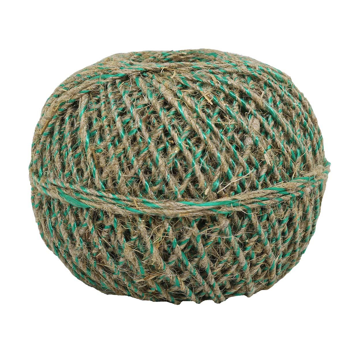 Шпагат льняной с зеленой нитью, Д1,5мм.,100м