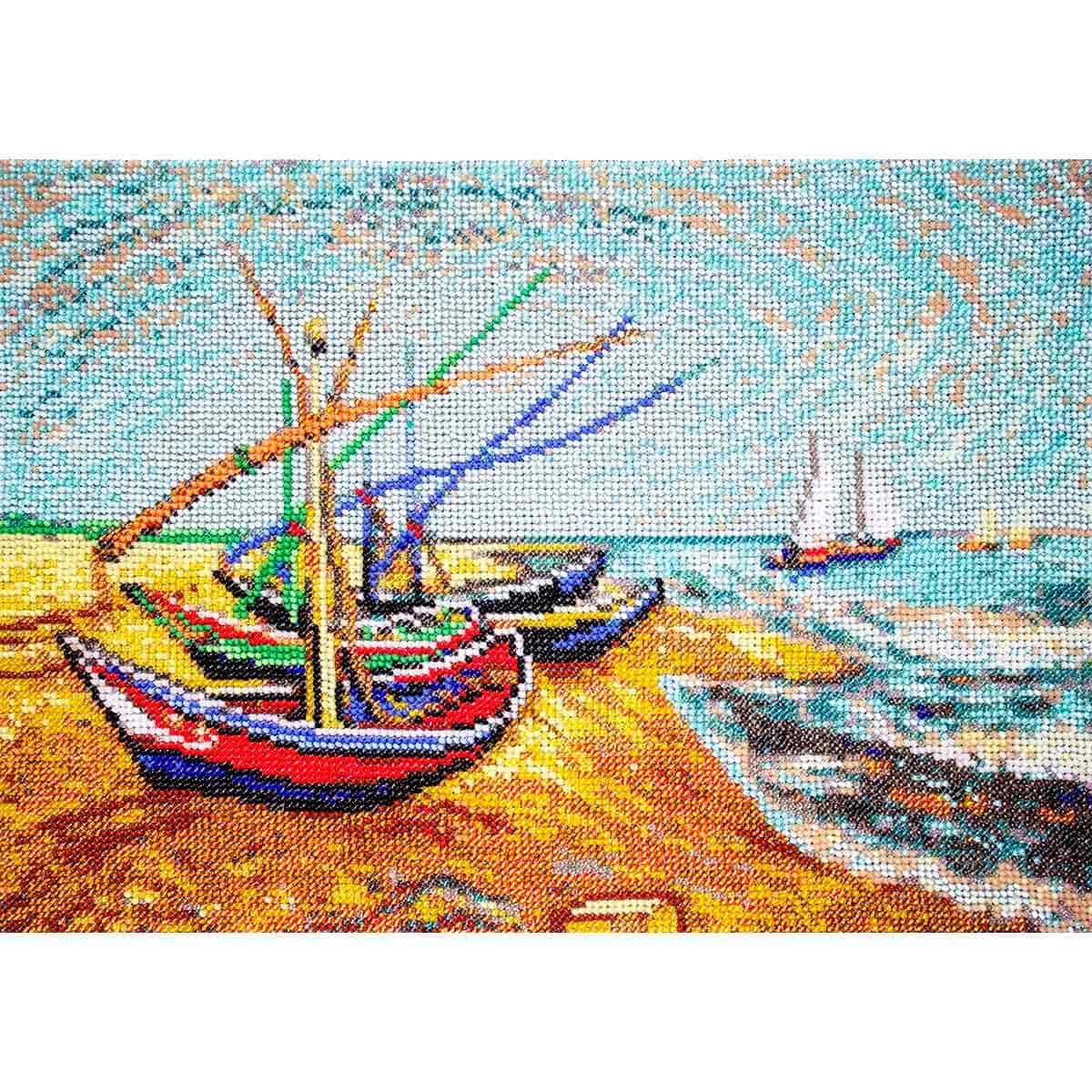 Р-105 Набор для вышивания бисером Созвездие. По мотивам картины Винсента Ван Гога 'Лодки в Сен-Мари' 32*24см