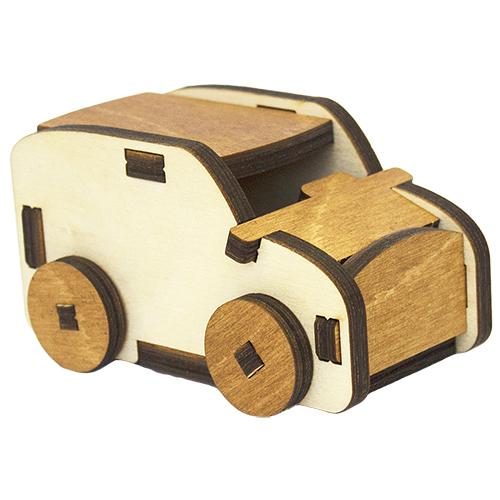 L-933 Деревянная заготовка 3D-пазл 'Древесенок. Машина' 11*6,5*5,5 см